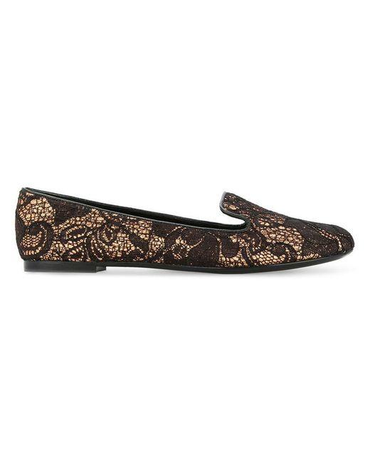 Casadei - Metallic Lace Ballerina Shoes - Lyst