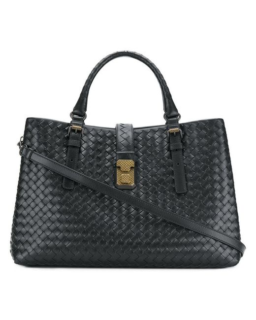 Bottega Veneta - Black Nero Intrecciato Calf Medium Roma Bag - Lyst