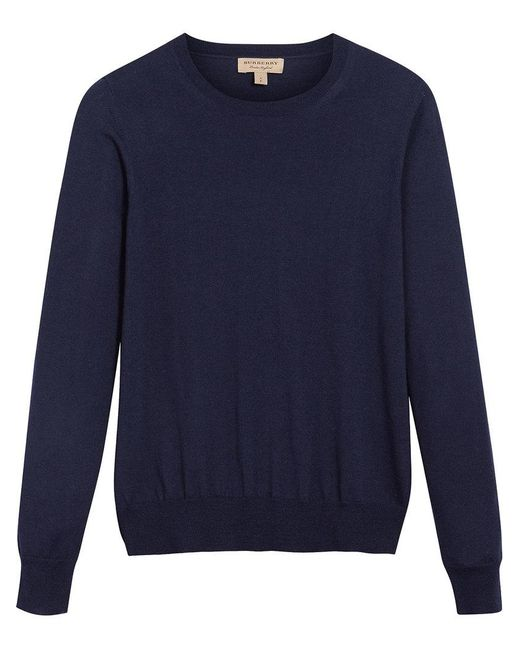 Burberry - Blue Check Detail Sweater - Lyst