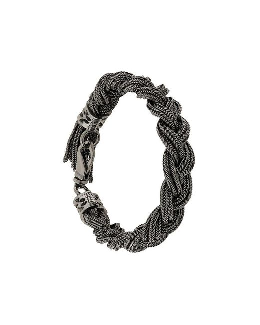 Emanuele Bicocchi - Black Braided Chain Bracelet for Men - Lyst