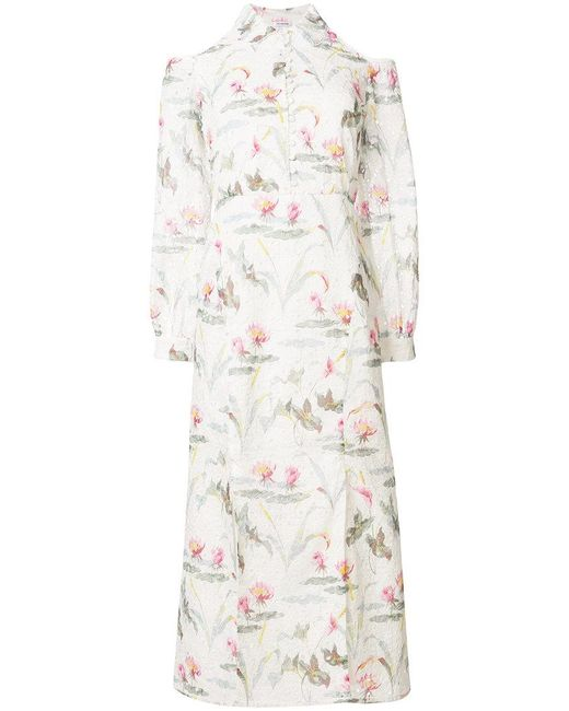 Vilshenko - White Printed Cold Shoulder Dress - Lyst