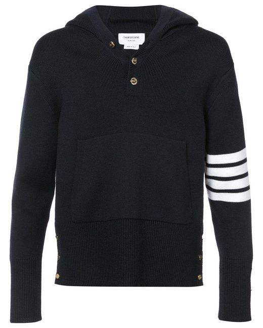 Thom Browne | Blue Pullover Hoodie With Rib Stitch In Navy Merino for Men | Lyst