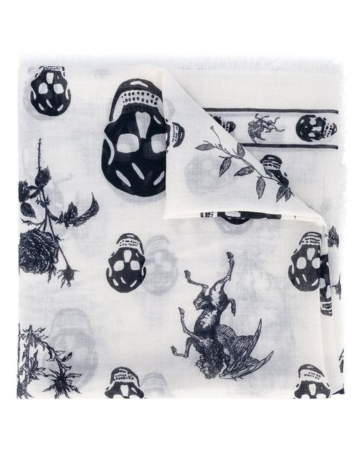 Alexander McQueen   White Skull And Badge Scarf for Men   Lyst