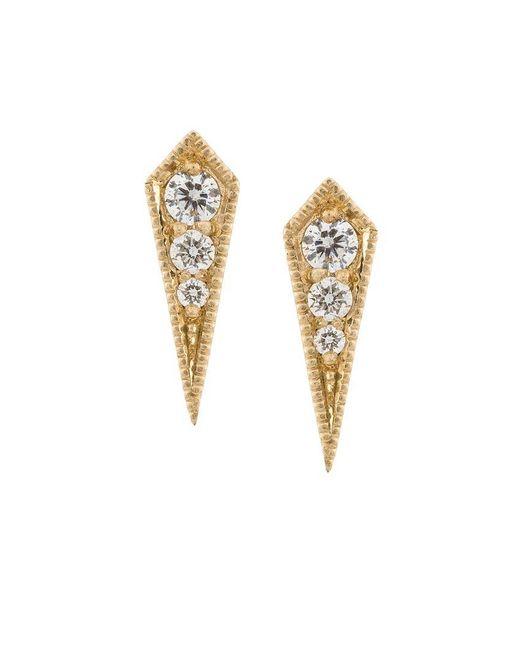 Lizzie Mandler | Metallic 18kt Gold 'kite' Diamond Stud Earrings | Lyst