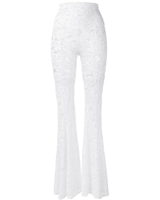 Norma Kamali | White Lace Flared Trousers | Lyst