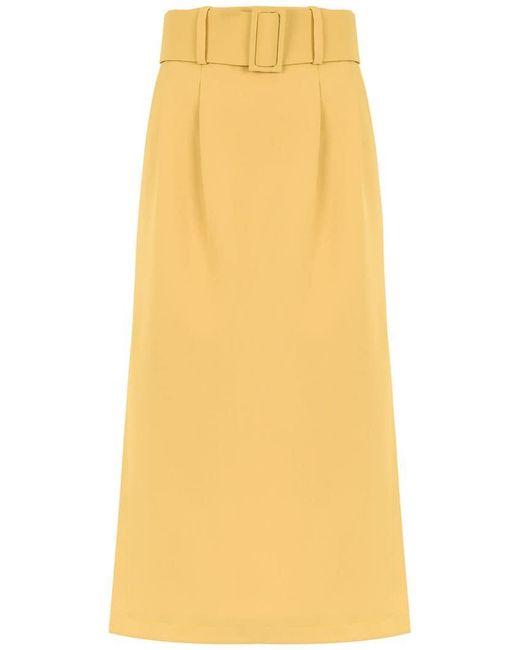 Egrey - Yellow Midi Belted Skirt - Lyst