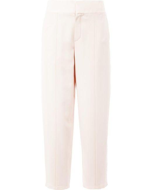 Chloé - Natural Pom Pom Trim Trousers - Lyst