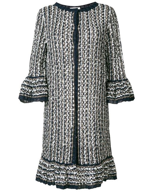 Charlott - Blue Long Knit Coat - Lyst