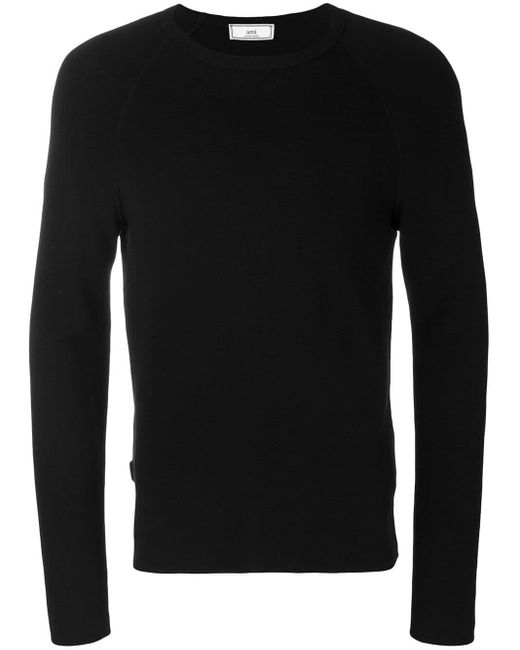 AMI Black Crew Neck Sweater for men