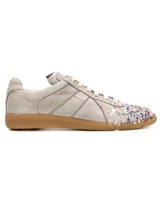 Maison Margiela - Gray Replica Paint-Splatter Nubuck Low-Top Sneakers for Men - Lyst