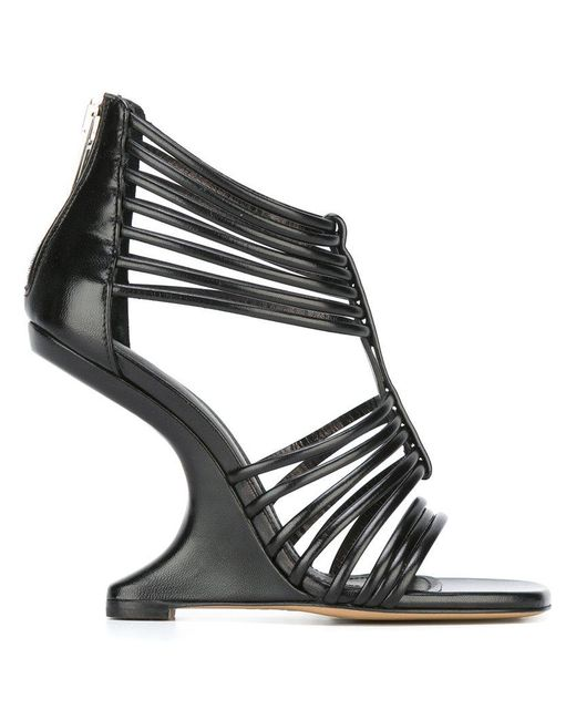 Rick Owens - Black Strappy Wedge Sandals - Lyst