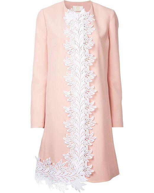 Sara Battaglia - Pink Embroidered Detail Coat - Lyst