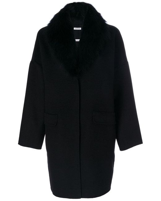 P.A.R.O.S.H. - Black Fur-lined Coat - Lyst