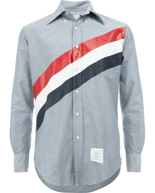 Lyst thom browne striped shirt in blue for men save 39 for Thom browne t shirt