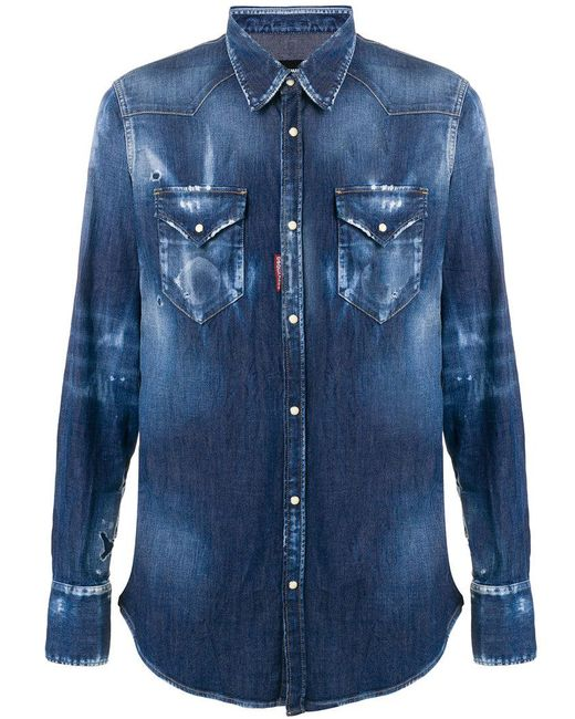 63ae5f419d DSquared² Distressed Denim Shirt in Blue for Men - Save 2% - Lyst