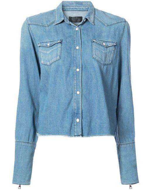 RTA Blue Raw Edge Denim Shirt