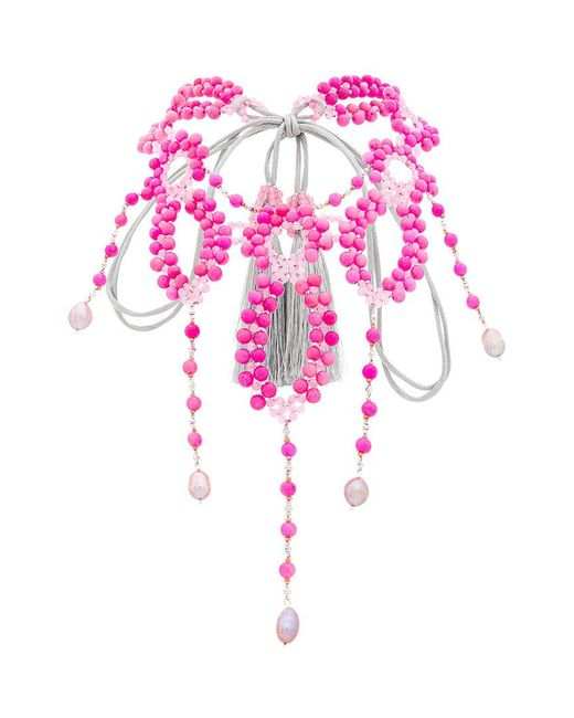 Night Market - Pink Beaded Necklace - Lyst