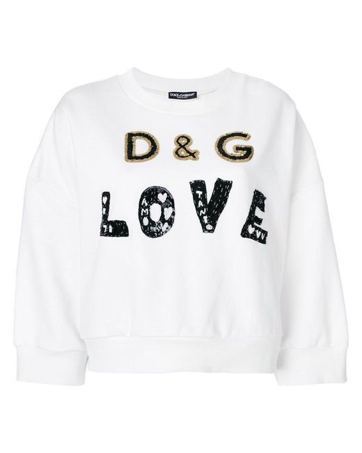 Dolce & Gabbana - White Love Metallic Embellished Sweatshirt - Lyst