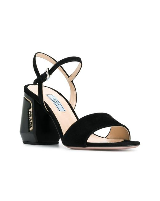 8cf7e09ac1e8 ... Prada - Black Block Heel Sandals - Lyst ...