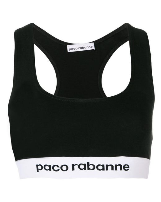Paco Rabanne - Black Logo Printed Bra Top - Lyst