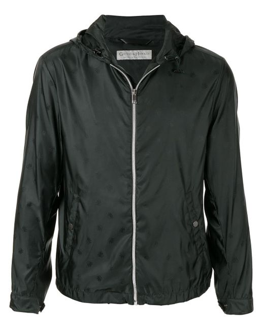 Gieves & Hawkes Black Zipped Hooded Jacket for men