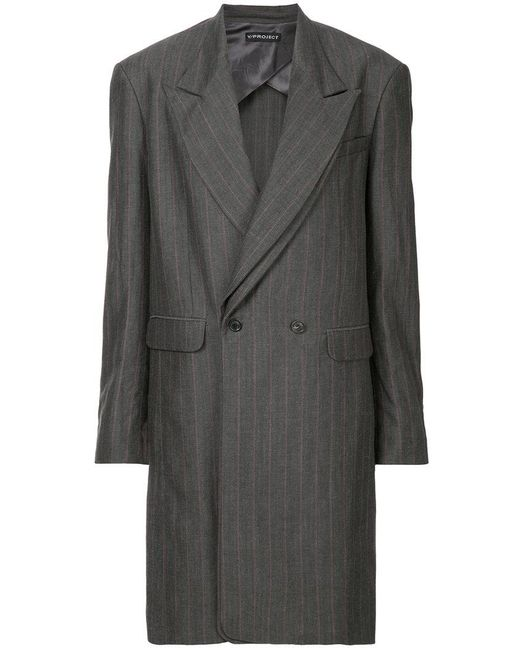 Y. Project - Gray Double Breasted Coat - Lyst
