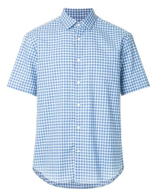 Cerruti 1881 - Blue Short Sleeve Checked Shirt for Men - Lyst