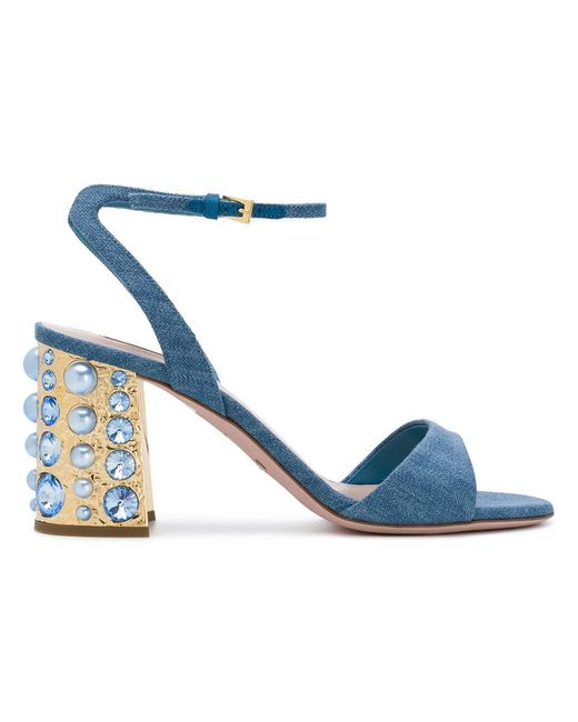 Sebastian - Blue Studded Block Heel Sandals - Lyst