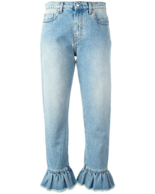 MSGM | Blue Ruffle-trimmed Cropped Jeans | Lyst