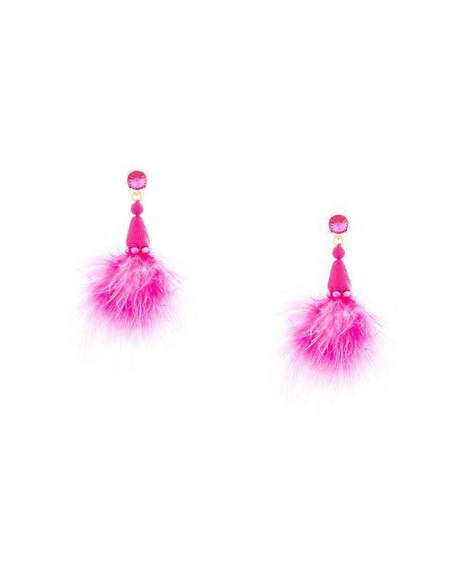 Oscar de la Renta | Pink Maribou Feather Earrings | Lyst