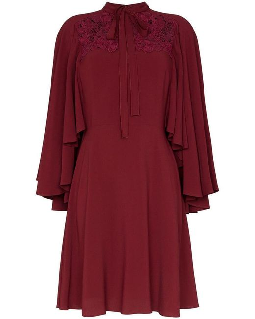Giambattista Valli - Red Lace Insert Cape Sleeve Silk Dress - Lyst