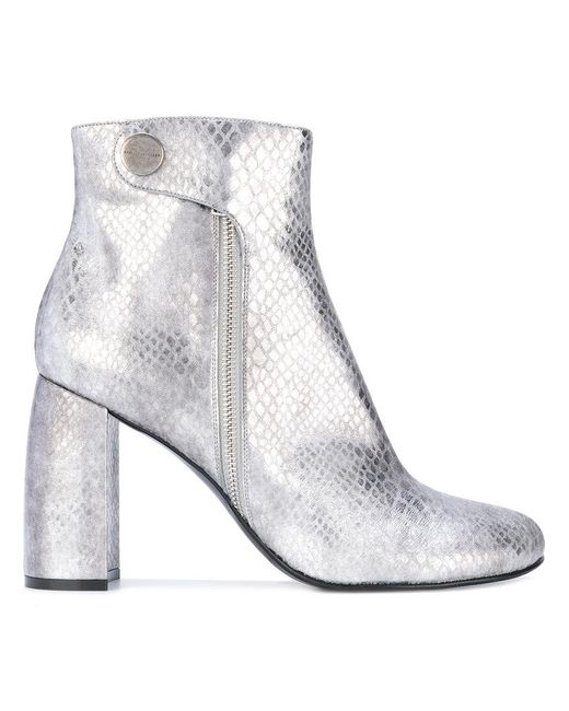 7dbfbf4556d Stella McCartney - Gray Metallic Alter Snakes Skin Ankle Boots - Lyst ...