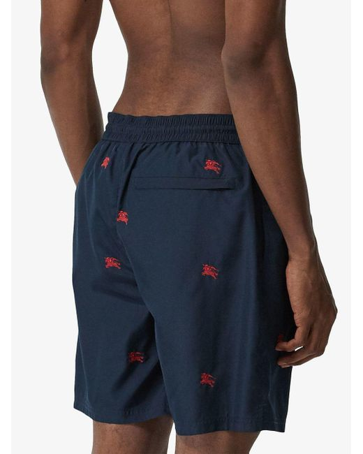 0e68514c81 Lyst - Burberry Logo Embroidered Swim Shorts in Blue for Men - Save 21%