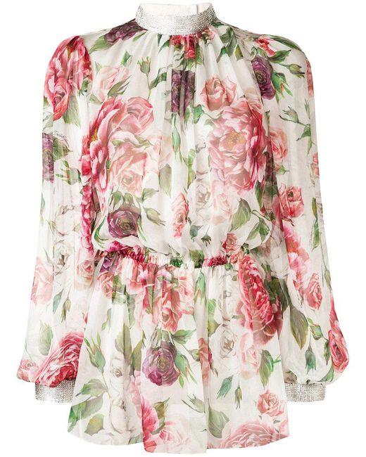 Dolce & Gabbana - White Peonie Print Blouse - Lyst