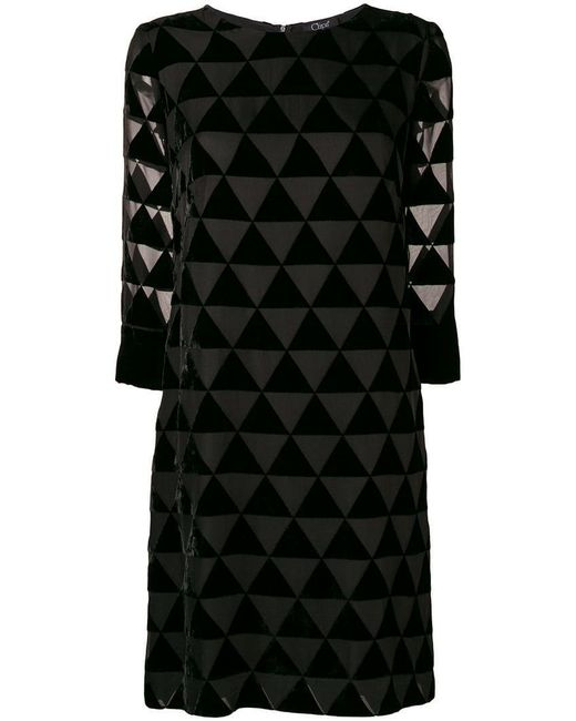 Clips - Black Triangle Mosaic Sheer Dress - Lyst