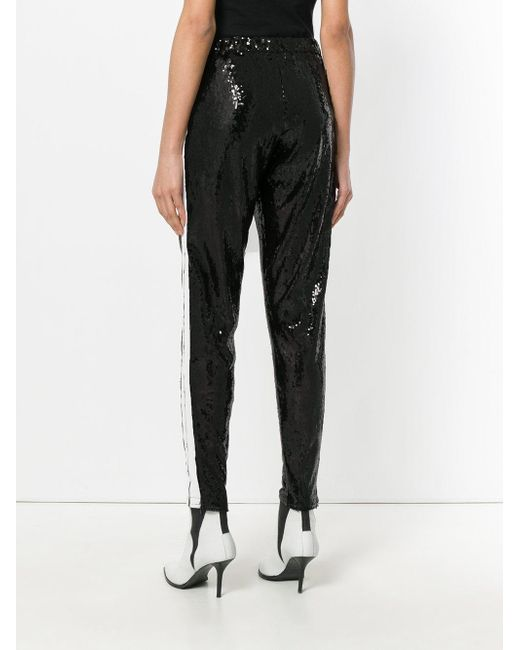 sequin embellished cropped trousers - Black Laneus