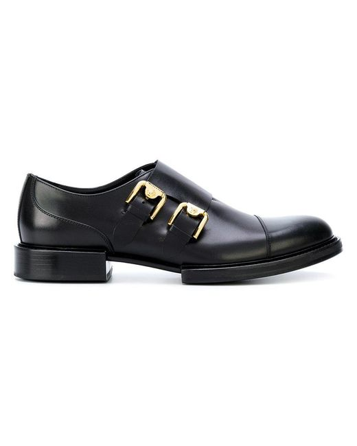 Versace Double Monk Strap Shoes in Black for Men | Lyst