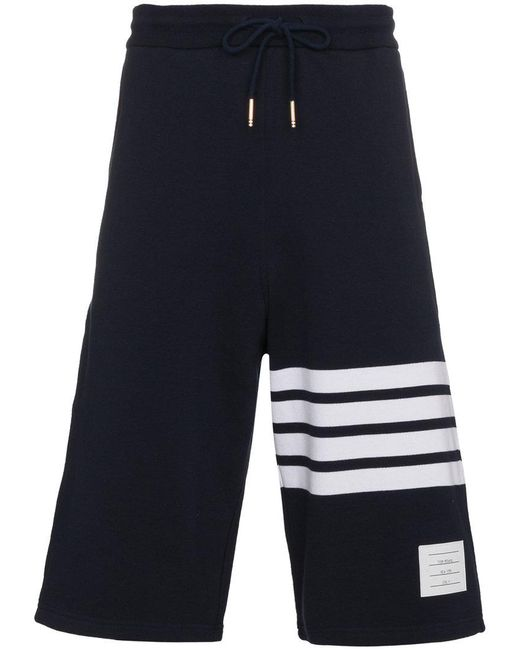 Thom Browne - Blue Sweatshorts With Engineered 4-bar Stripe Are for Men - Lyst