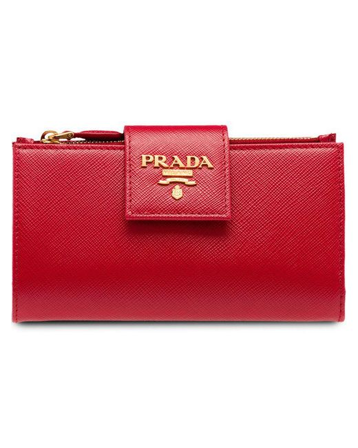 47ba130b105c ... uk prada red saffiano leather tab wallet lyst 60413 8bc57