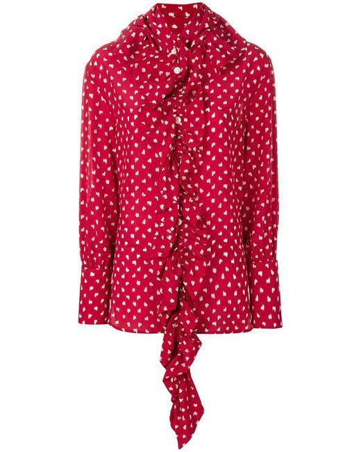 Marni - Red Patterned Ruffle Blouse - Lyst