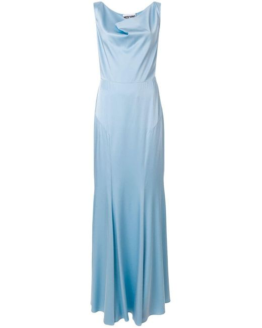 Moschino Blue Cowl Neck Evening Gown