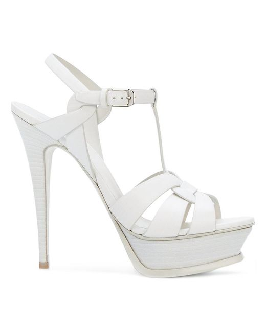 Saint Laurent | White Classic Tribute 105 Sandals | Lyst