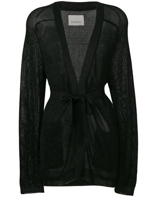 Laneus - Black Sheer Belted Cardigan - Lyst