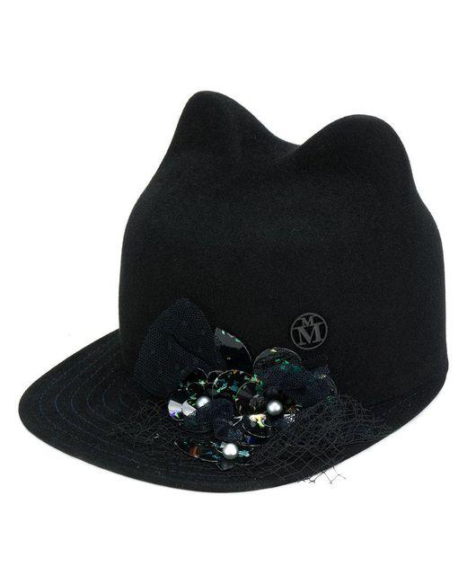 Maison Michel | Black Embellished Cats Ears Cap | Lyst