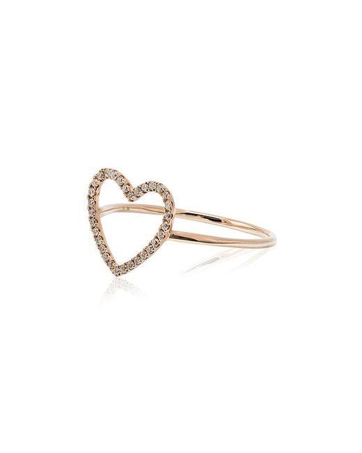 Rosa De La Cruz - Metallic Rose Gold And Diamond Heart Ring - Lyst