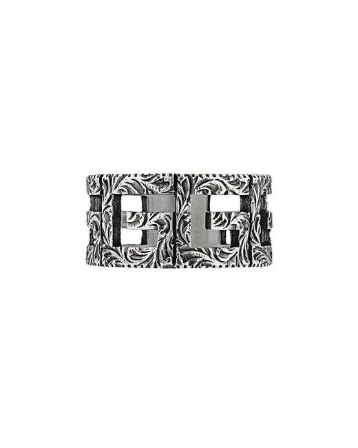 "Gucci - Metallic Ring mit ""Square G""-Motiv for Men - Lyst"