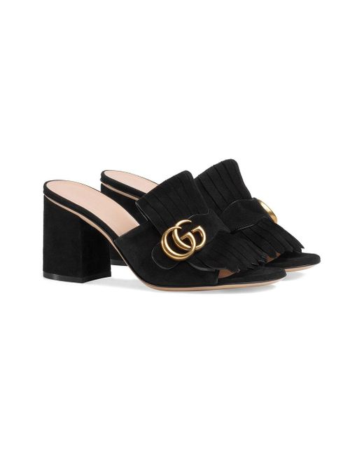 b40063ba027 Gucci Suede Mid-heel Slide in Black - Save 33% - Lyst