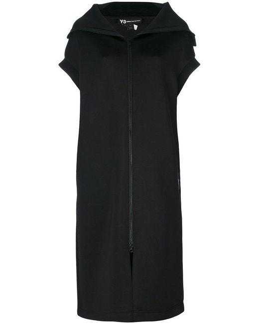 Y-3   Black Sleeveless Zipped Coat   Lyst