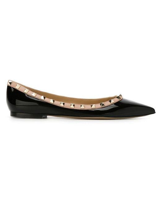 Valentino - Black Rockstud Patent Leather Ballerinas - Lyst