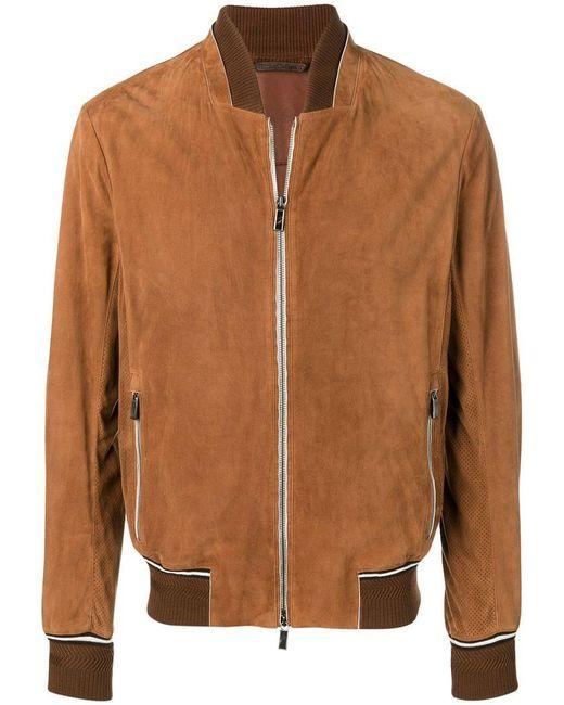 Ermenegildo Zegna - Brown Zipped Bomber Jacket for Men - Lyst ... 6fa1727068c